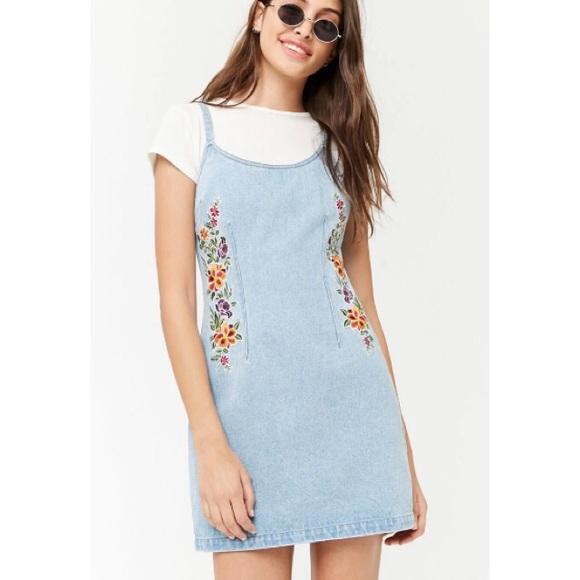 963a1196d1b3 Forever 21 Dresses | Floral Embroidered Denim Dress | Poshmark